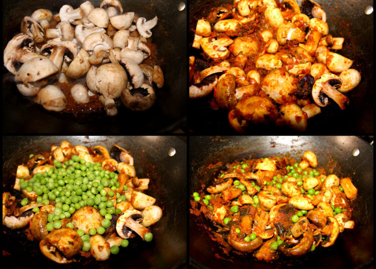 Cooking Green peas and Mushroom curry