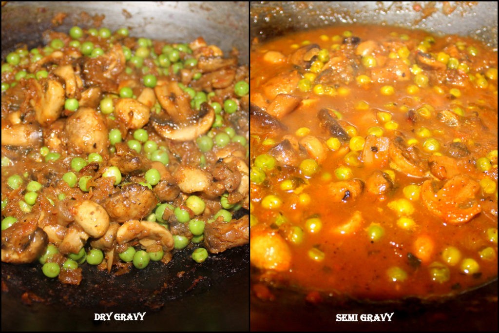 Green peas and Mushroom curry being cooked