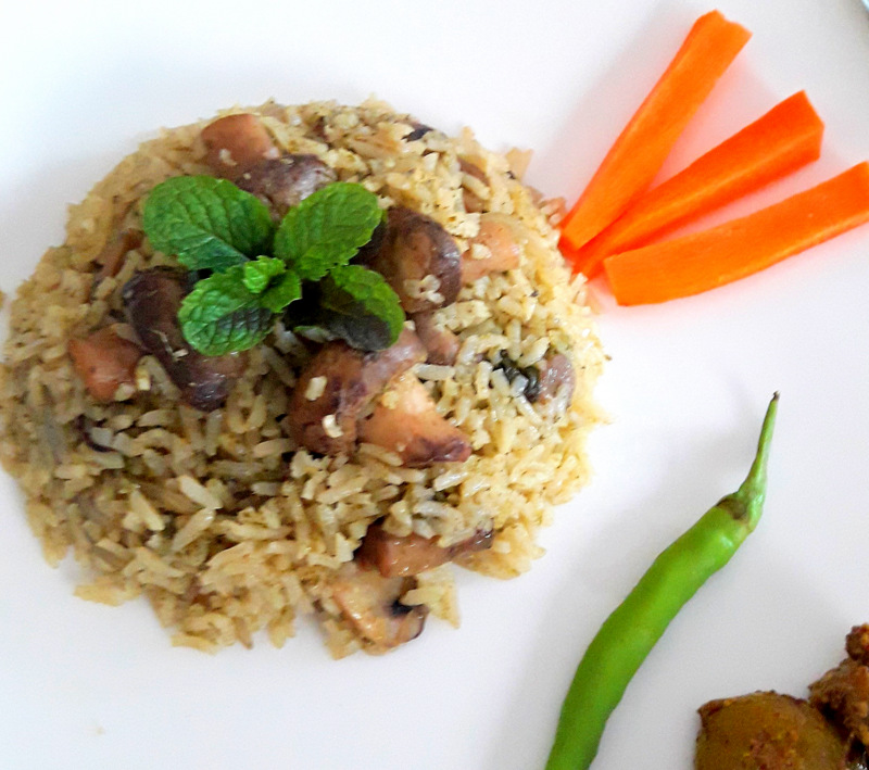 Mushroom-Mint Rice or Pulao