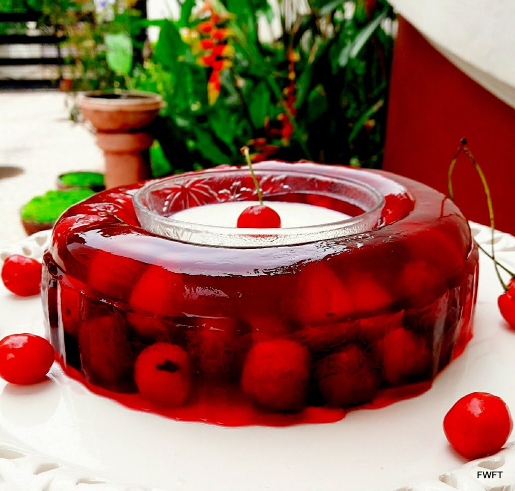 Yummy Cherry Jelly with Sweetened Cream