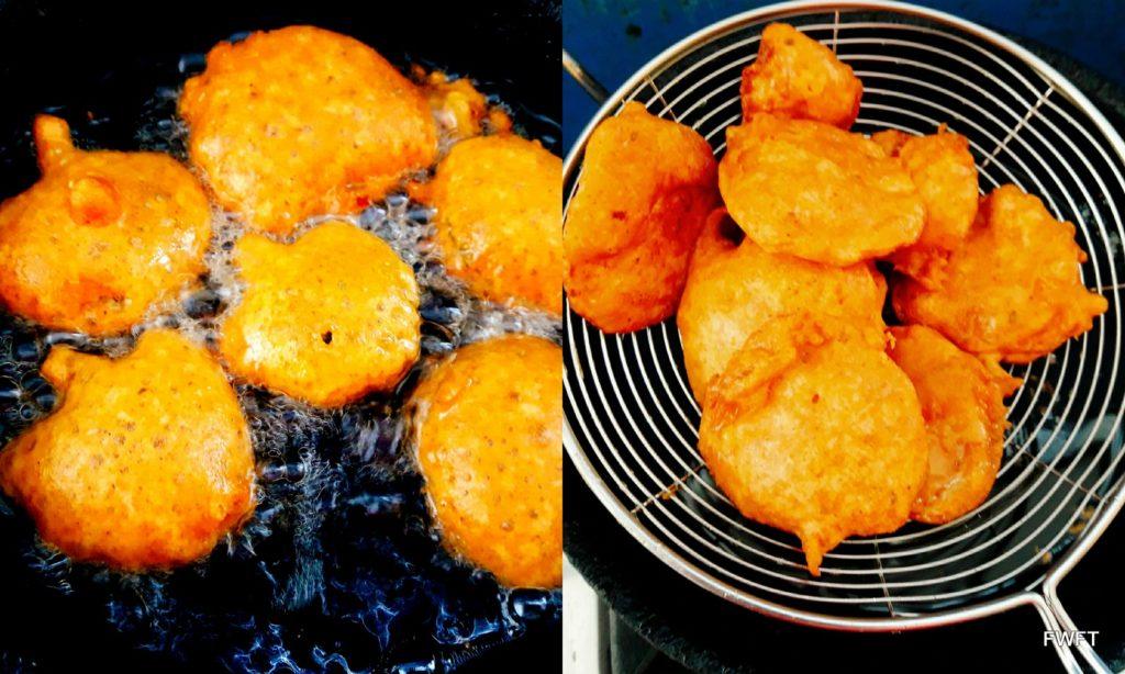 Ajwain Patte Ke Pakode or Carom Leaf Fritters being fried
