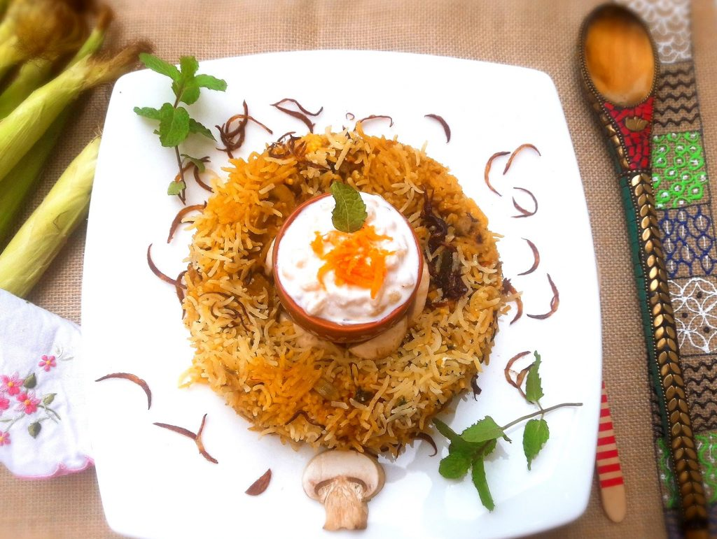 Shahi Mushroom and Babycorn Biryani Recipe