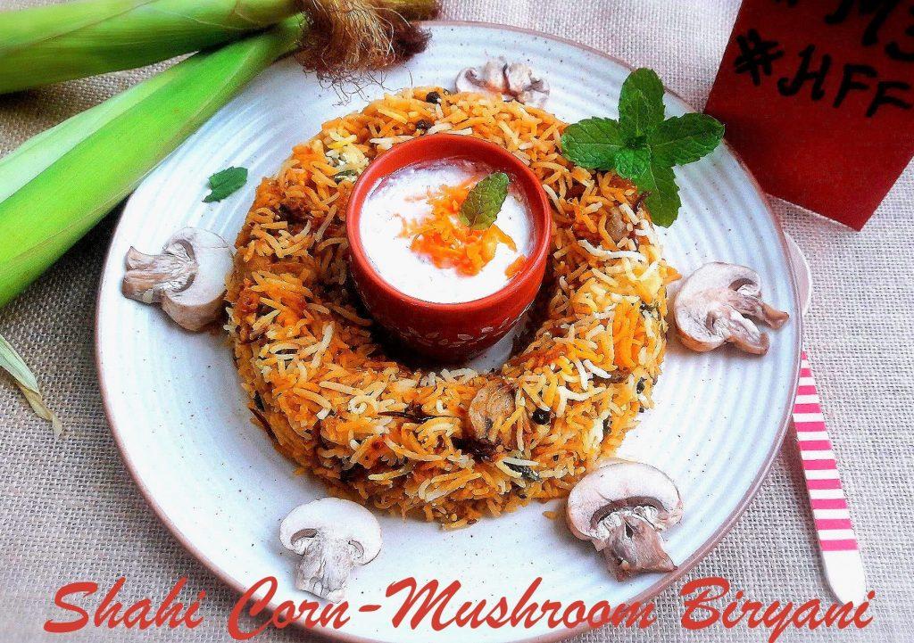 Shahi Mushroom and Babycorn Biryani