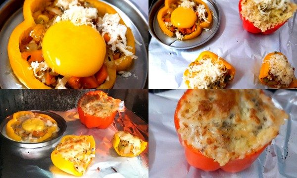 Cover a wire rack with aluminium foil and spray a little oil on it. Place the peppers on it and bake for 15 to 20 mins. Your stuffed peppers are ready. Serve hot with or without sauce, tuck into the creamy goodness.