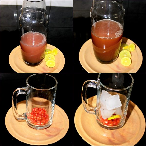Take a shaker. Pour the lemonade (lemon juice, sugar, and water) then the pomegranate juice and shake nicely. You can add honey or jaggery or plain sugar in place of Demerara sugar. In a glass add the pomegranate seeds, mint, ice, and muddle; top with the tea and garnish with mint leaves and a lime wedge.