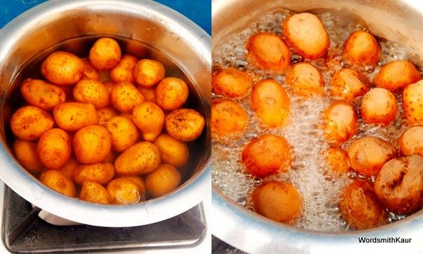 Wash the potatoes well and boil in an open pan. Peel and set aside
