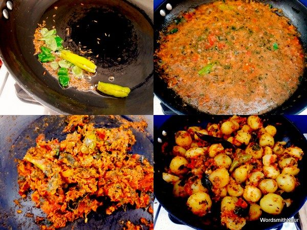 Heat remaining oil in the pan add cumin seeds, green chillies and a few curry leaves.