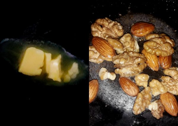 Caramel layer – In a pan add 1 tsp butter and add the walnuts and almonds. Sauté till the nuts are crunchy and keep aside.