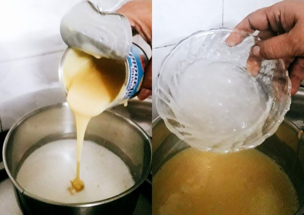 Condensed Milk layer - Heat the milk in a pan. Add the condensed milk to it once the milk is boiling. Keep on stirring the milk so that the thick condensed milk does not burn. Mine almost did.