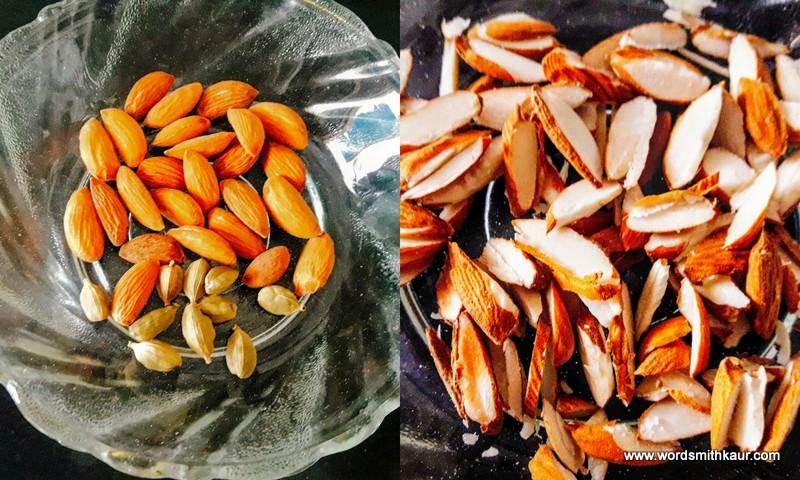 Almonds slivered for garnishing