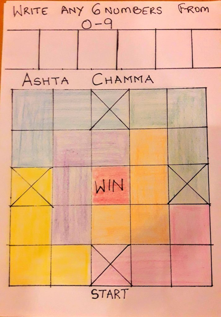 Ashta Chamma Ticket for Tambola Games with a Holi Theme