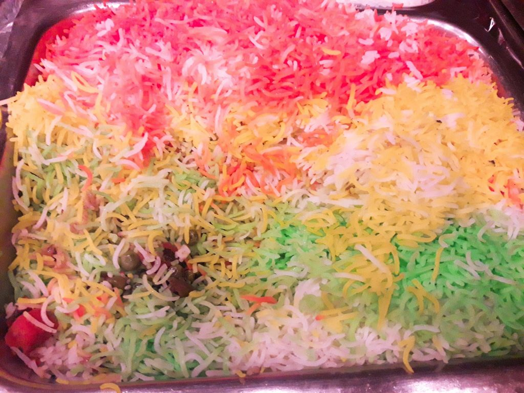 Coloured rice for Holi