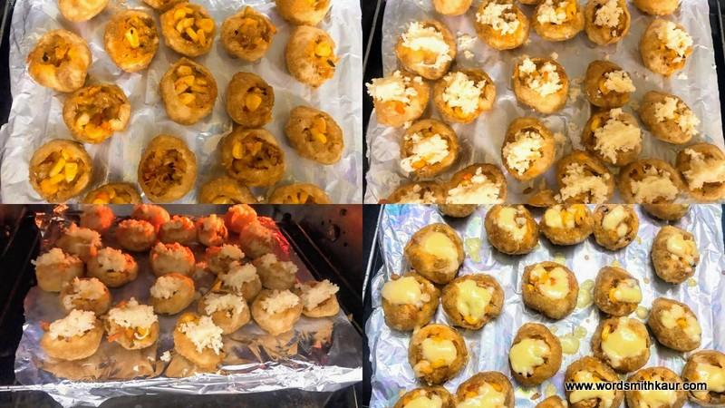 Cheese Corn Pani Puri Shots