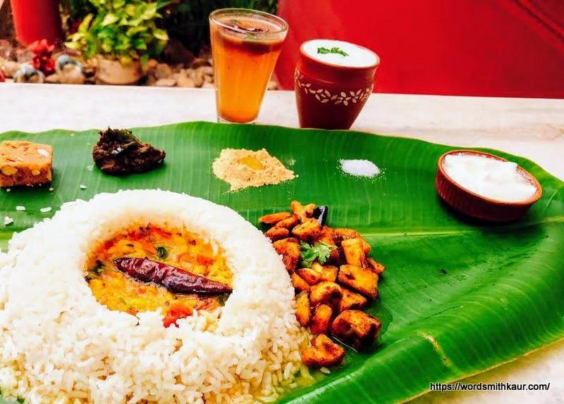 Andhra meals served on a Banan leaf
