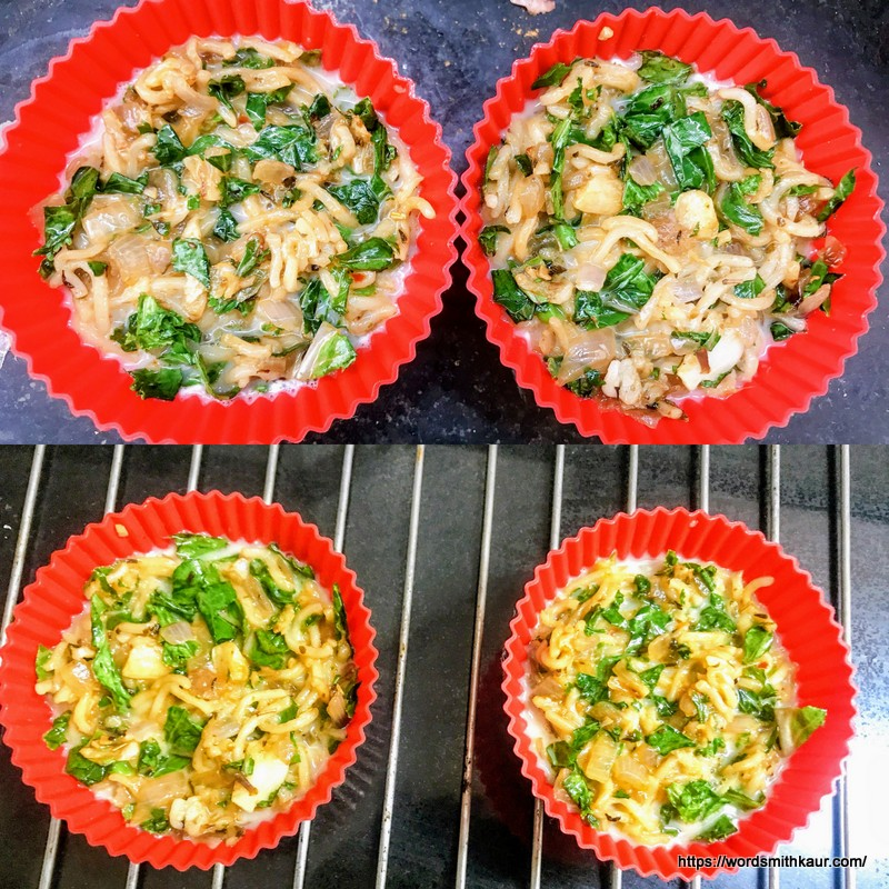 Kale Noodle Quiche Cups  in muffin cups