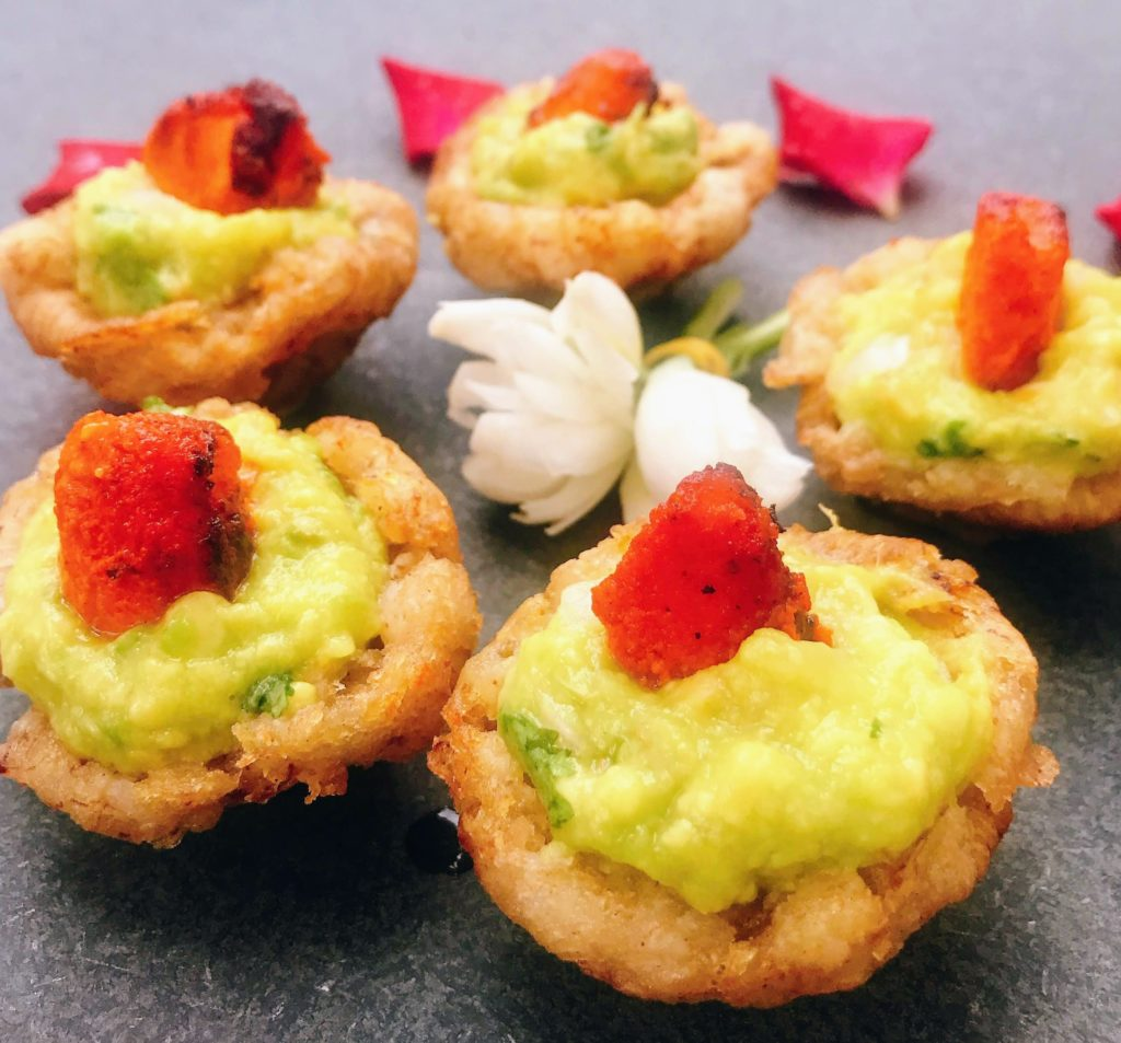 Plantain Baskets Topped with Guacamole & Chicken Tikka