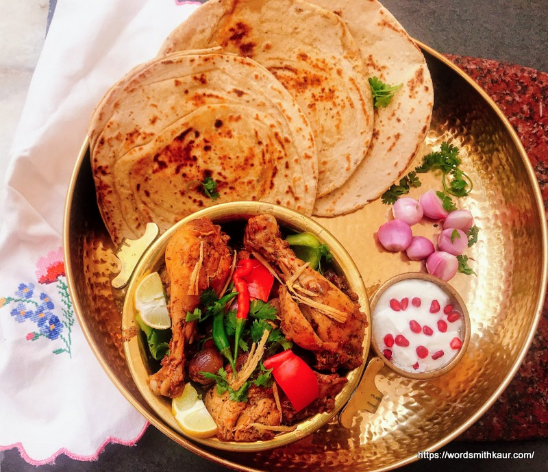 Laccha Paratha with Kadai Chicken