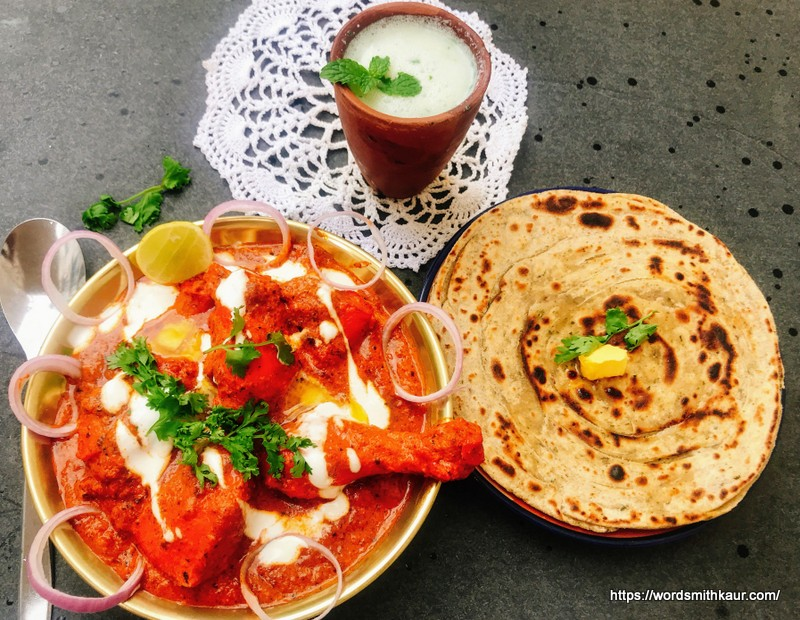 Butter chicken with Masala Lachha paratha
