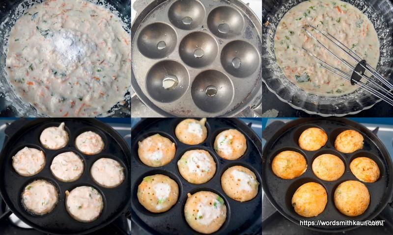 instant rava paniyaram  on the pan