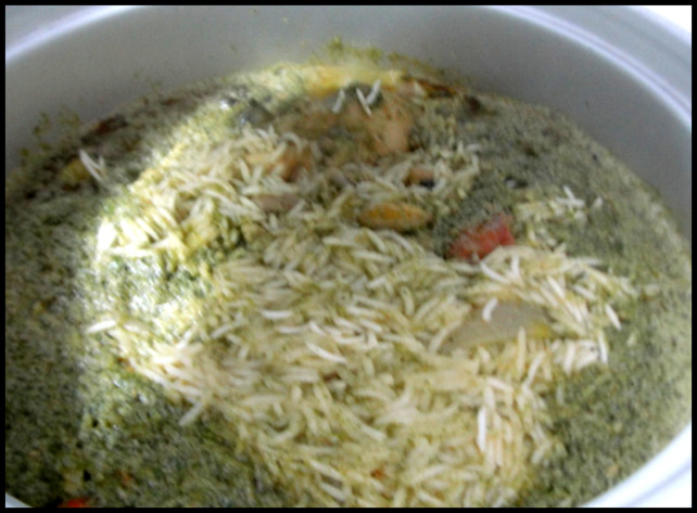 Chicken Dum Biryani with Coconut Milk half cooked