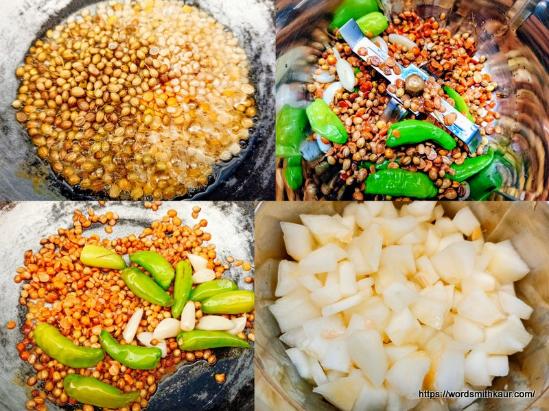Andhra Dosakaya Pachadi Recipe prep