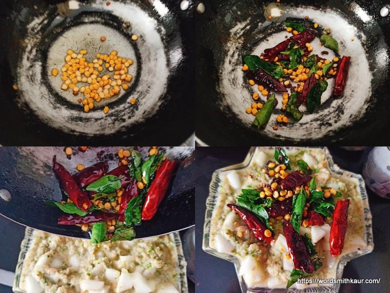 Andhra Dosakaya Pachadi Recipe tempering
