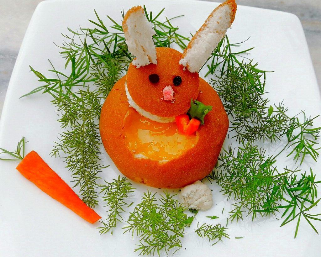 Easter Bunny with Mango juice